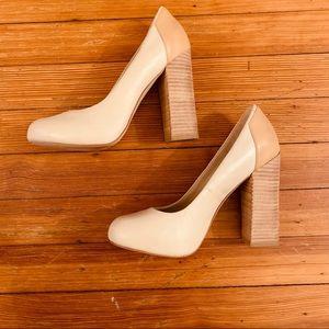 EUC gorgeous ALDO block heel pump. bone/tan 8.5